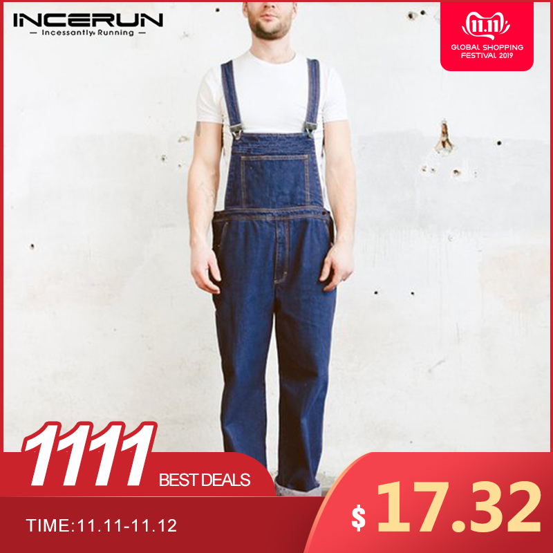 INCERUN Men Denim Jumpsuit Casual Fashion Streetwear Suspenders Rompers Pockets Mens Jeans Playsuit Retro Personality Workwear