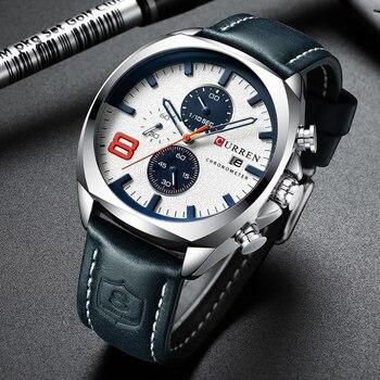 CURREN 8324 Men Watches Military Analog Male Quartz Clock Men's Sport Wristwatch With Box