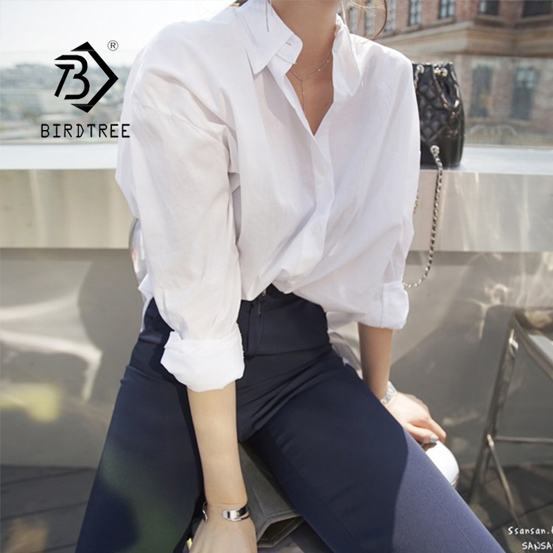 New Arrival Women Solid Turn-down Collar White Shirt Batwing Sleeve Button Up Long Blouse Korea Style Feminina Blusa T9O904F