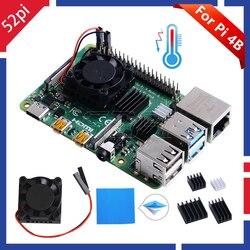 52Pi Новинка! Оригинальный 1/2 двойной вентилятор квадратный охлаждающий вентилятор с радиатором кулер комплект для Raspberry Pi 4 B (4 Модель B)