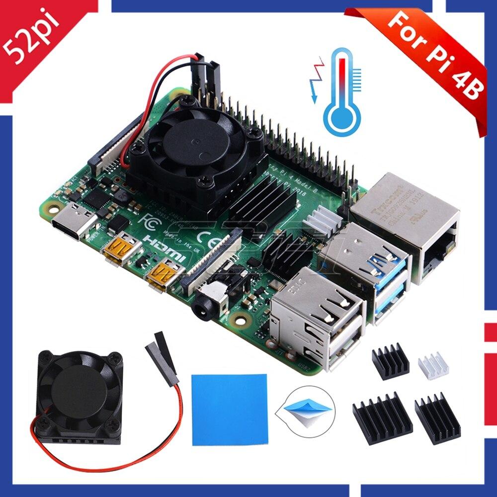 52Pi New! Original 1/2 Dual Fan Square Cooling Fan With Heatsink Cooler Kit For Raspberry Pi 4 B ( 4 Model B )