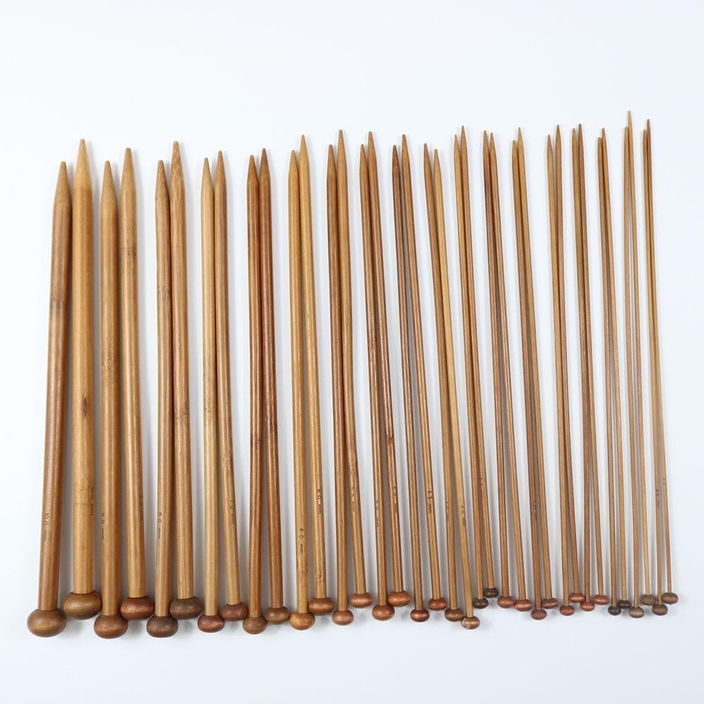 36PCS Bamboo Handle Crochet Hooks 25cm Knitting Needles 35cmBamboo Knit Weave Yarn Crafts DIY Knitting Tools