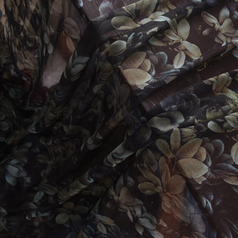 140CM Wide Floral Print Thin Soft Black Silk Chiffon Fabric for Summer Long and Short Dress Shirt Scarf H602