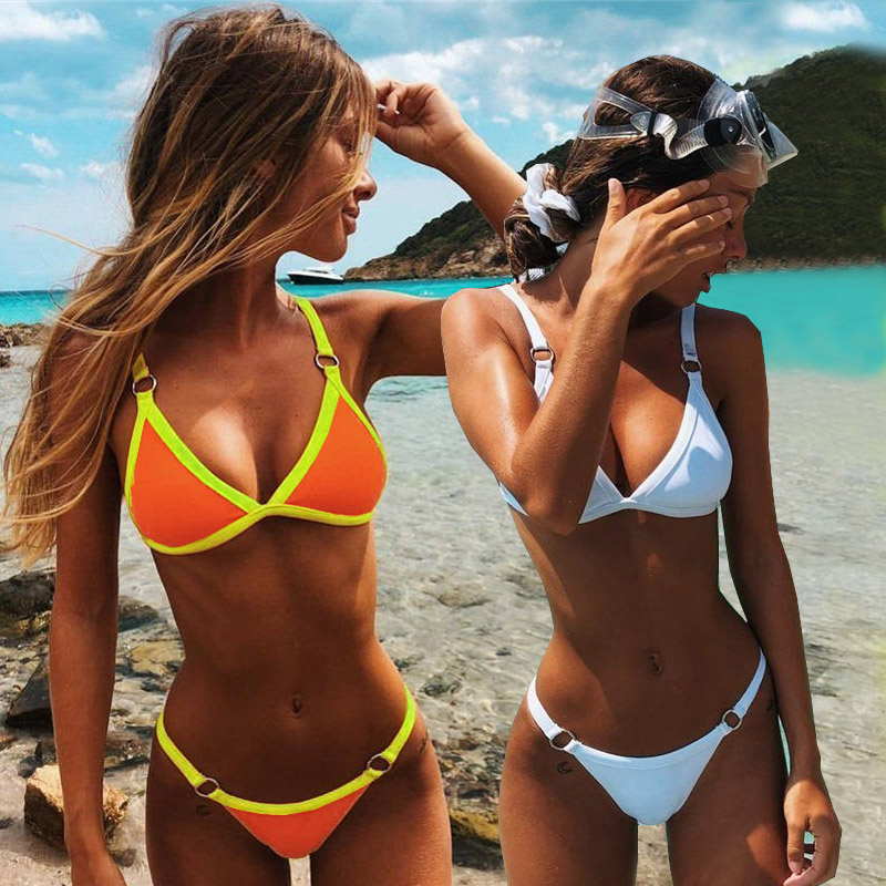 Push Up <font><b>Bikini</b></font> 2019 <font><b>Sexy</b></font> Swimsuit Swimwear Female Solid Thong <font><b>Brazilian</b></font> Mini Micro <font><b>Bikini</b></font> Set Biquini Bathing Suit Women image