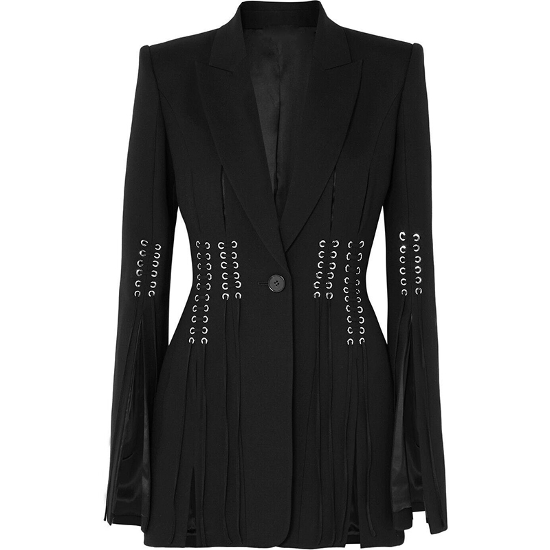 HIGH STREET 2019 Designer Stylish BLAZER Women's Single Button Slit Rope Lacing Up Blazer Jacket