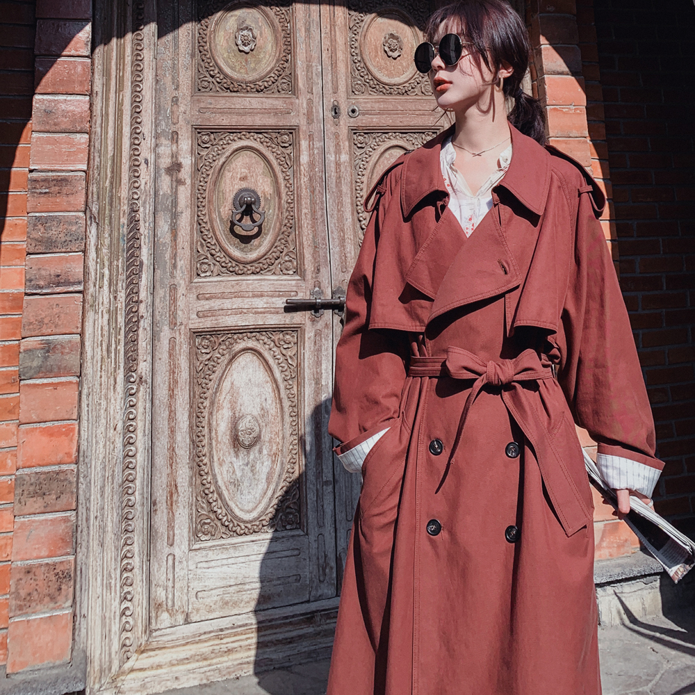 Werynica new Fashion 2019 Fall /Autumn Casual Double breasted Simple Classic Long   Trench   coat with belt Chic Female windbreaker