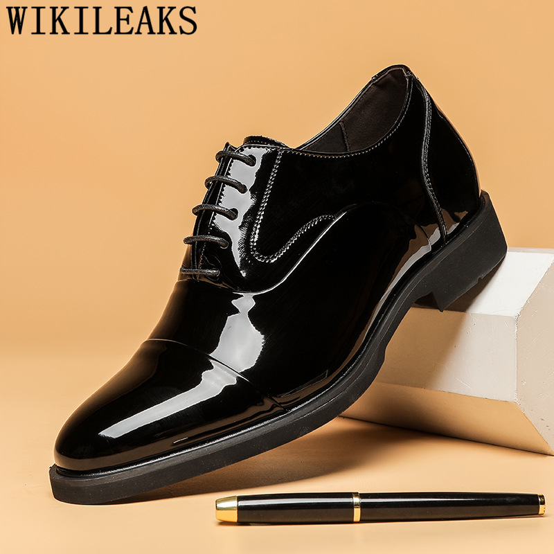Oxford Shoes For Men Coiffeur Elevator Shoes For Men Patent Leather Italian Brand Men Wedding Shoes Evening Dress Buty Meskie