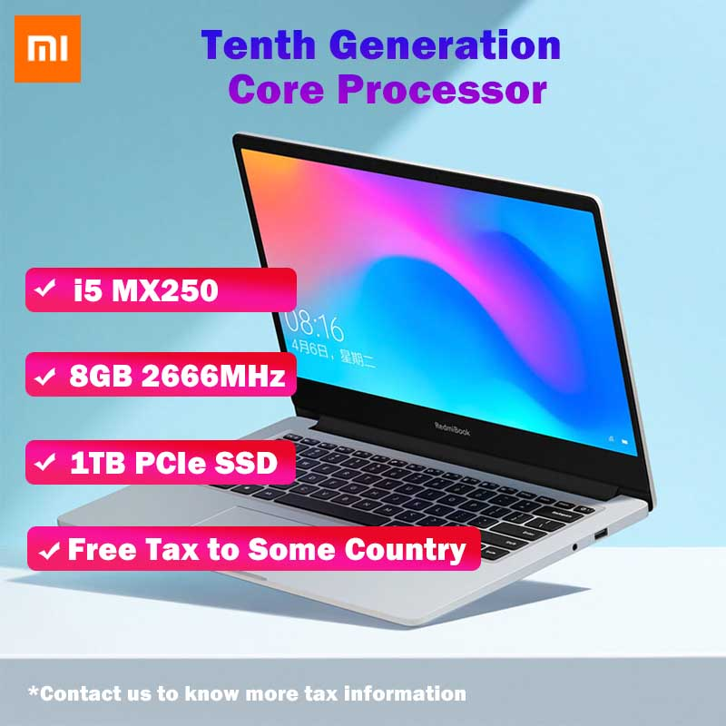 Original Xiaomi RedmiBook Laptop 14.0 Inch Enhanced I5-10210U MX250 8GB DDR4 1TB/512GB SSD Windows 10 Student Portable Notebook