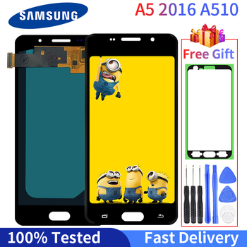 AMOLED LCD  For Samsung Galaxy A5 2016 A510F A510M LCD Display A510FD A5100 A510 Touch Screen Digitizer Assembly Replacement защитная плёнка для samsung galaxy a5 2016 sm a510f front