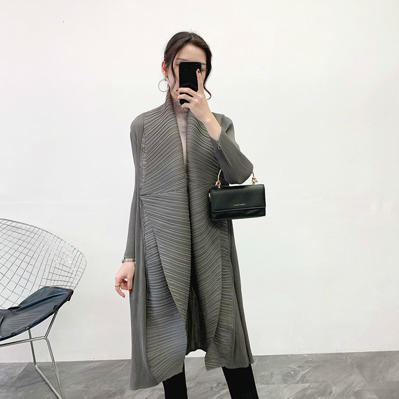 LANMREM Solid Color Mid-length Pleated Cardigan Women 2020 New Spring Casual Slim Was Thin Loose Big Size Windbreaker PC889