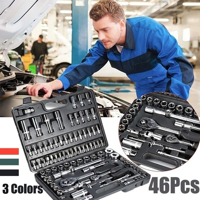 46pcs 렌치 소켓 세트 하드웨어 스패너 스크루 드라이버 래칫 렌치 세트 키트 자동차 수리 도구 조합 손 도구 세트