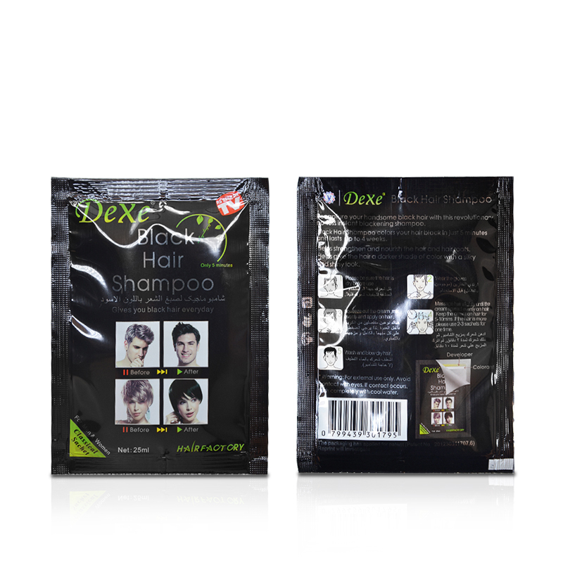10pcs/lot Dexe Black Hair Shampoo Only 5 Minutes Grey Hair Removal Dye Hair Coloring Cream Building Fibers Hair Care 1