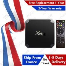 Melhor x96 caixa de tv iptv android 9.0 caixa 1gb 8gb 2 16gb amlogic s905w x96 media player smart ip tv conjunto caixa superior navio da frança