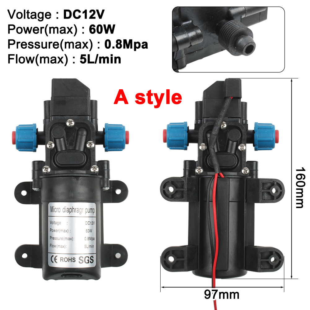 DC12V 60W Micro Electric Diaphragm Water Pump Automatic Switch High Pressure Car Washing Spray Water Pump 3-5L/min