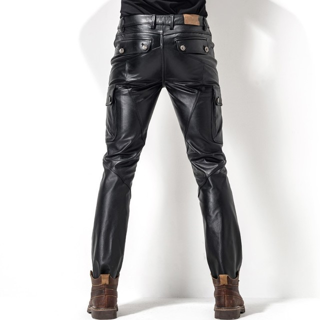 Euro brand new motorcycle men's leather pants pants leather bag leather cutting style fashion men's pencil pants 2