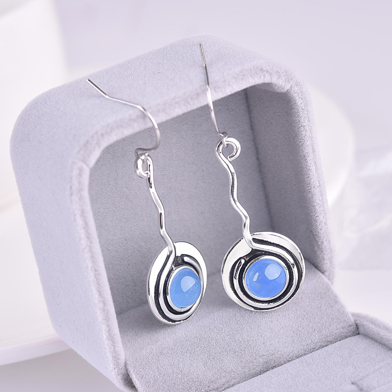 Vintage Bohemian Blue MoonStone Women Earring 925 Silver Luxury Beautiful Jewelry Best Gift Party Drop Earring Wholesale in Drop Earrings from Jewelry Accessories