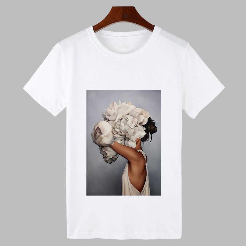 2019 Сексуальная футболка с цветочным принтом и перьями Harajuku женская модная футболка с круглым вырезом и коротким рукавом белые топы Женская одежда