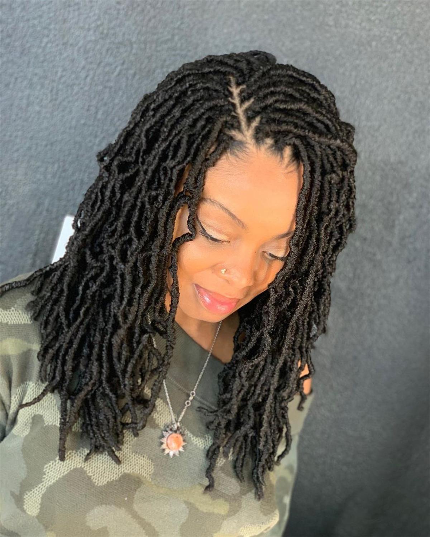 Nu Locs Crochet Hair Natural Curly Dreadlocks Hair Black Dark Brown Faux Locs Crochet Braids 18