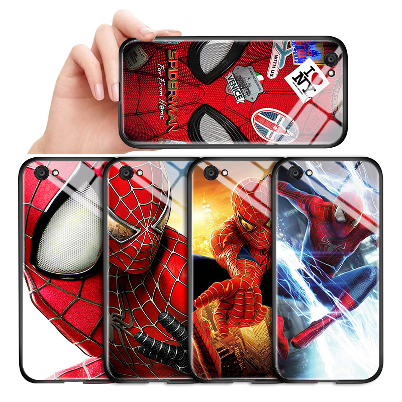 For <font><b>Vivo</b></font> V11 V15 V17 <font><b>Z1</b></font> S1 <font><b>Pro</b></font> Z5X Marvel Avengers Spiderman <font><b>Case</b></font> Shockproof Soft Edge Tempered Glass Back Cover Casing image