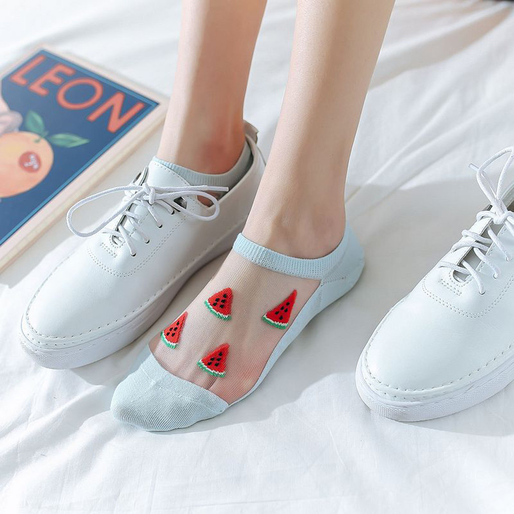 Fruit Print Crystal Transparent Socks Women Casual Summer Fashion Transparent Silk Fruit Print Short Socks Breathable Socks