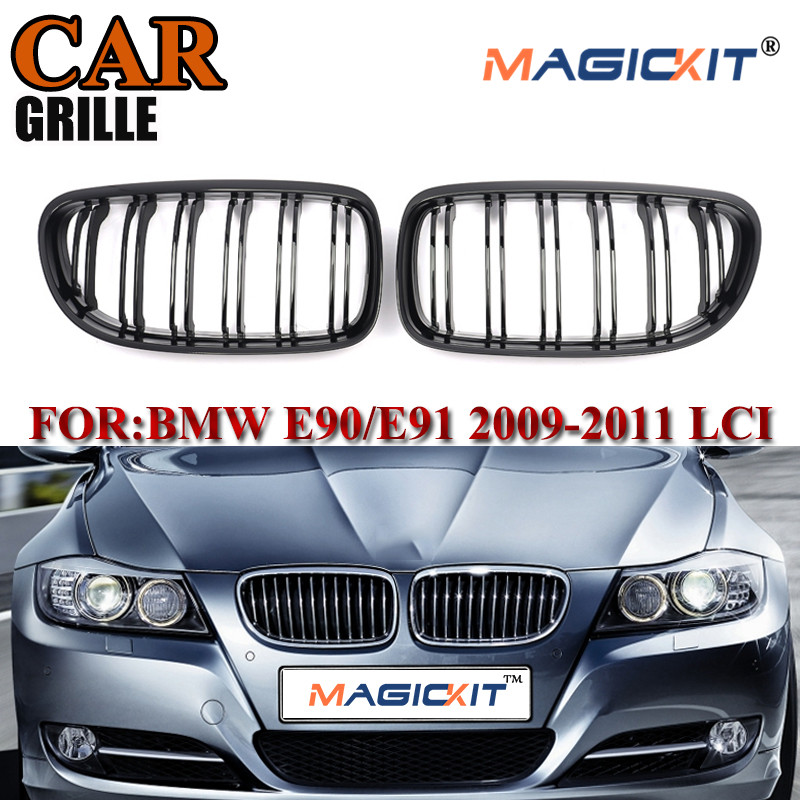 MagicKit For BMW E90 E91 3 Series Kidney Grill Grille Gloss Black M Style 09-11 LCI Model image