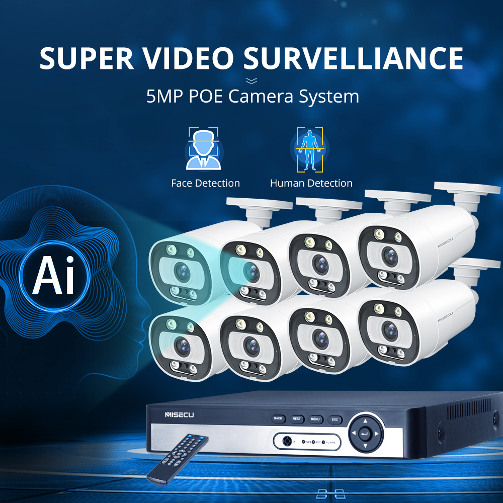 MISECU 8CH 4CH 5MP NVR POE CCTV Camera Security System Kit Two Way Audio Ai IP Camera Outdoor Color Night VisionSurveillance Set