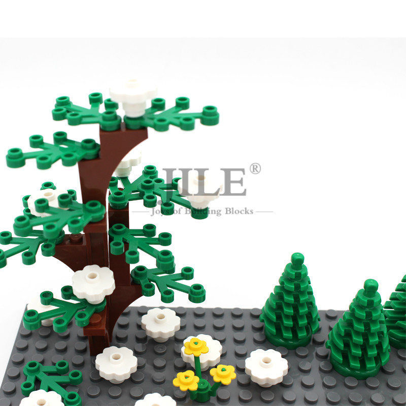 Купить с кэшбэком MOC Plants Set Meal Building Blocks City Street View DIY Bulk Bricks Gardan Tree Flower Grass without Baseplate Children Toys