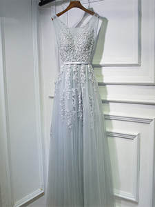 Prom-Gowns Evening-Dress Robe-De-Soiree Lace Chiffon Long Double-V-Neck Pearls with In-Stock