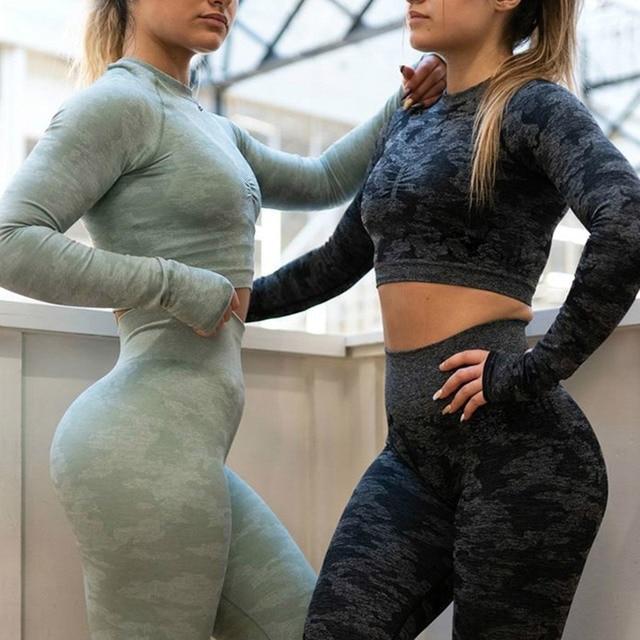 SALSPOR Camo Seamless Yoga Shirts Women Gym Crop Top Long Sleeves Running Sport T-Shirts Women Fitness Yoga Top Workout Tops 4