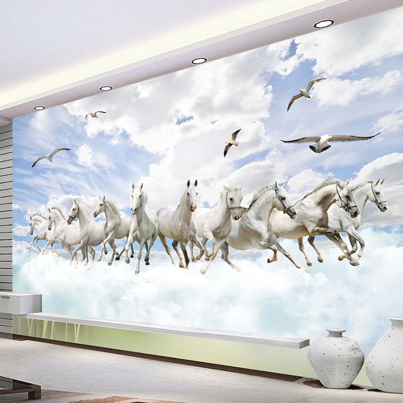 Custom 3D Photo Wallpaper White Horse Art Creative Landscape TV Background Wall Painting Study Room Living Room Mural Decoration