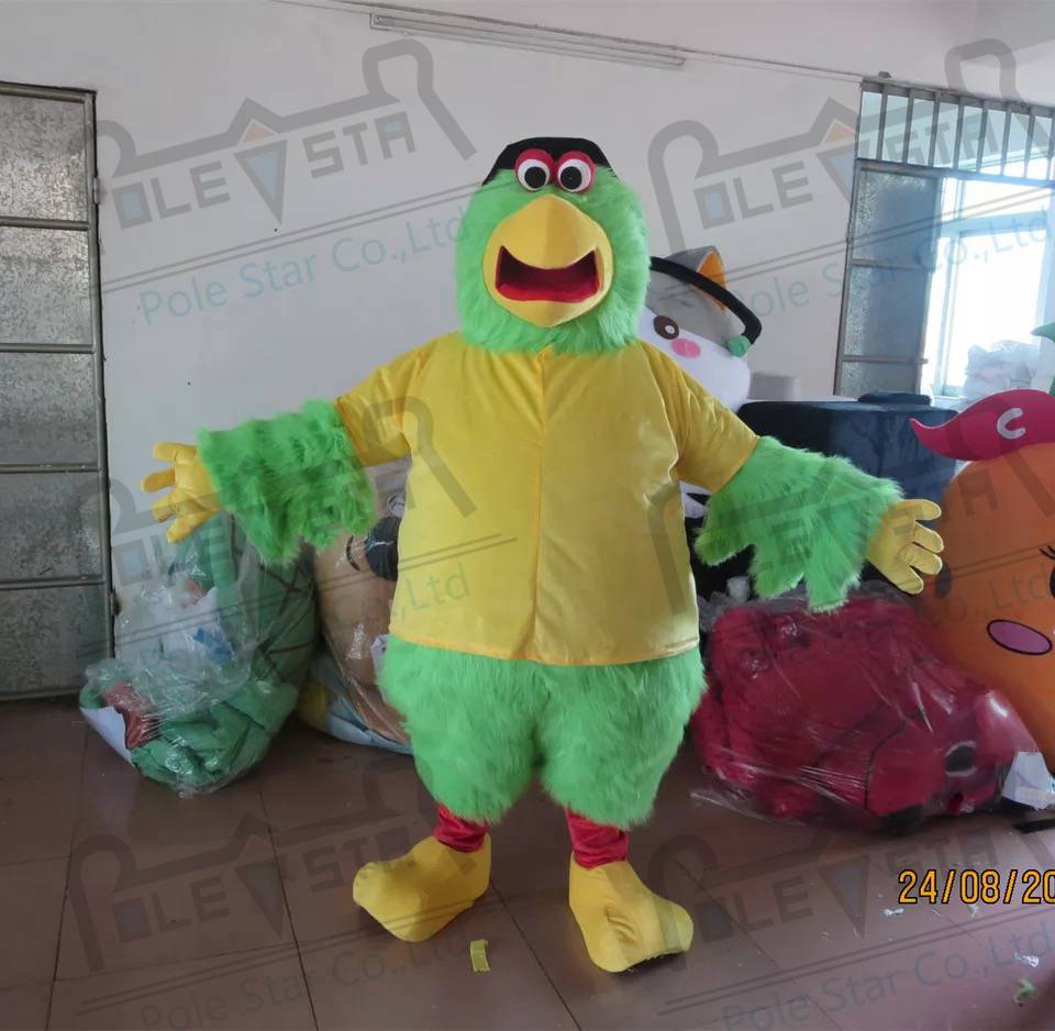 quality black hat parrot mascot  costumes cartoon long fur green and yellow bird mascot design