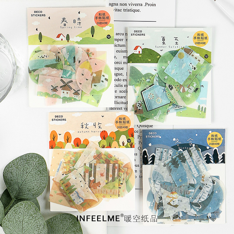 40 Pcs/set Watercolor Stickers Four Seasons Kawaii Cute Animal Pattern Bullet Journal Scrapbooking Stickers Diary Album Stickers