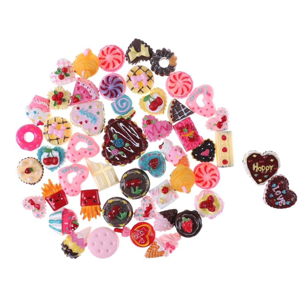 10pcs/lot Random Dolls Miniature Pretend Toy Mini Play Food Cake Biscuit Donuts For Dolls Accessories