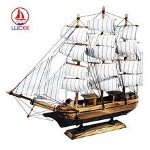 LUCKK Smooth Sailing White Wooden Sailboat Model 40*6.5*34cm Boats Children Toys Gift