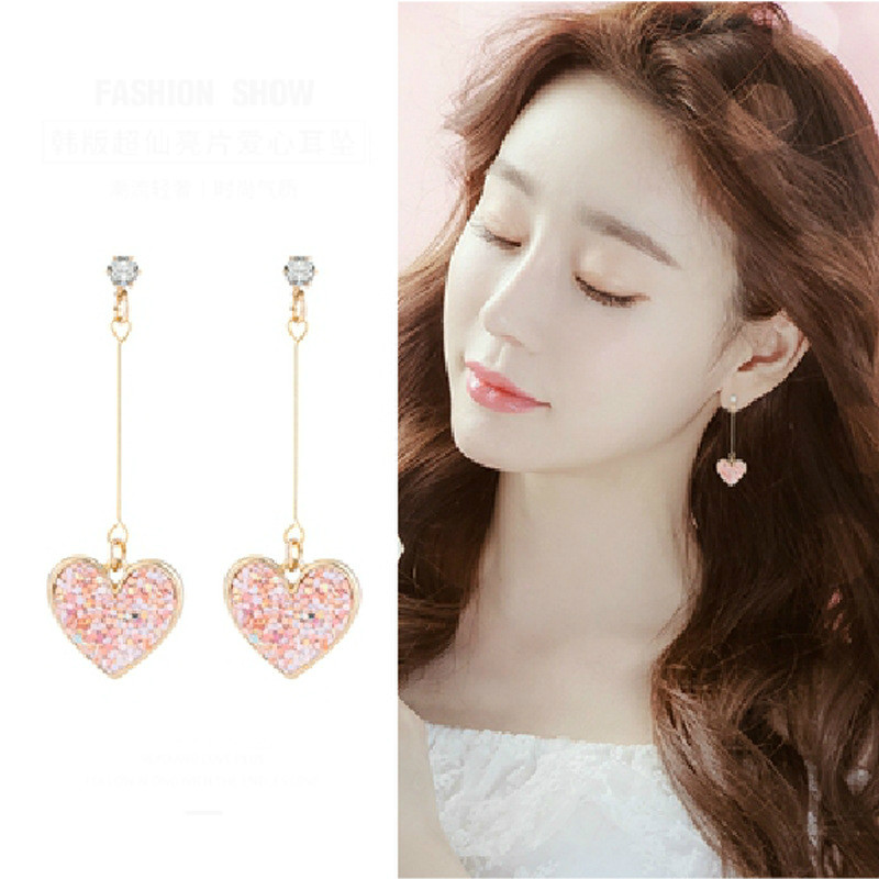 Korean Fashion Sweet Sequins Love Temperament Net Red Long Earrings Simple Exquisite Heart-shaped Ladies Earrings Jewelry