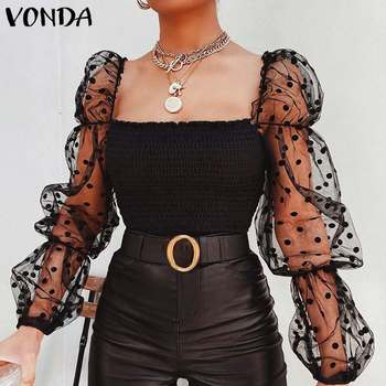 Party Tops Women Lace Tunic Summer Blouse VONDA 2020 Sexy Puff Sleeve Hollow Office Shirts OL Vintage Polka Dot Tops Plus Size