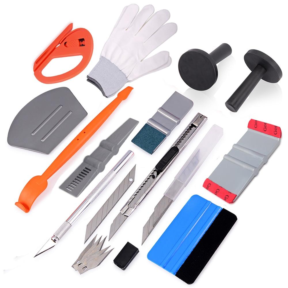 FOSHIO Car Vinyl Wrap Film Squeegee Scraper Tools Set Carbon Fiber Magnet Holders Car Sticker Cutter Knife Kit Car Accessories-in Scraper from Automobiles & Motorcycles
