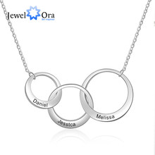 Personalized Intertwined Circle Necklace with 3 Names Customized Family Friendship Necklace Engraved Jewelry (JewelOra NE103419)(China)