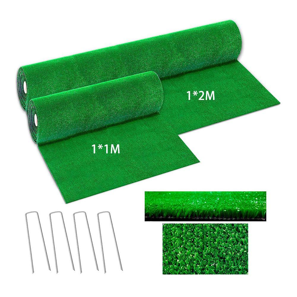 1x1M 1x2M Artificial Grass Lawn Synthetic Drainage Green Grass Simulation Plants Artificial Turf Set (turf + 4Pcs Steel Rivet)