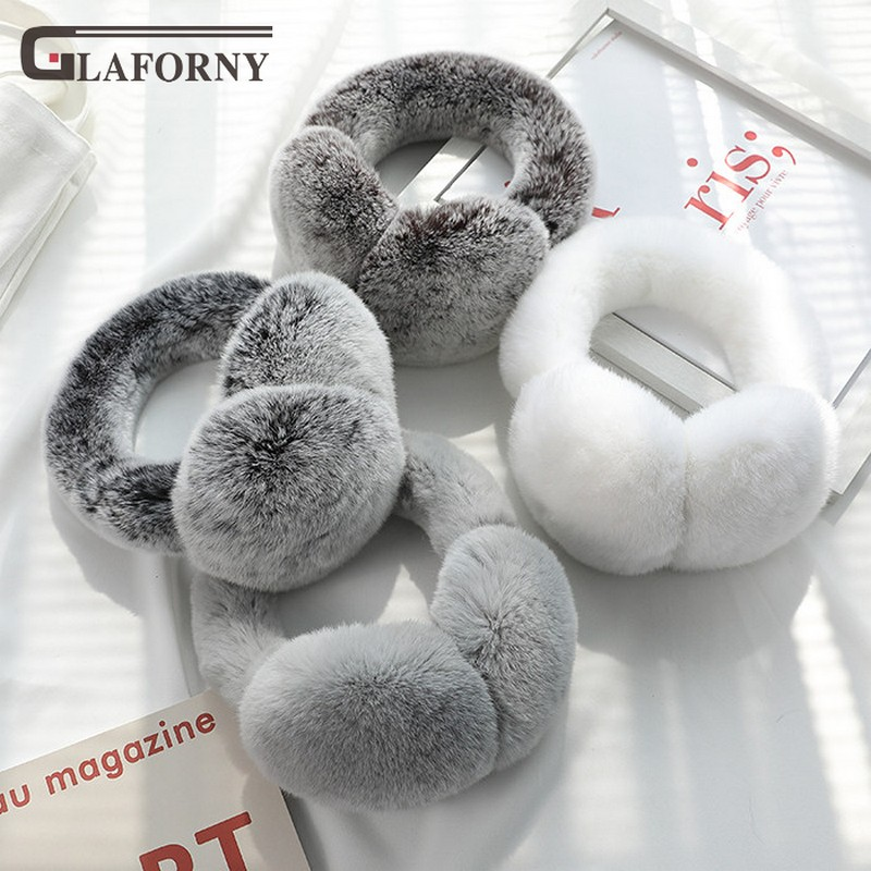 2019 Korean Version Of The New Rex Rabbit Real Fur Earmuff Winter Keep Warm Ear Covering Elastic Fur Ear Bag Can Be Folded