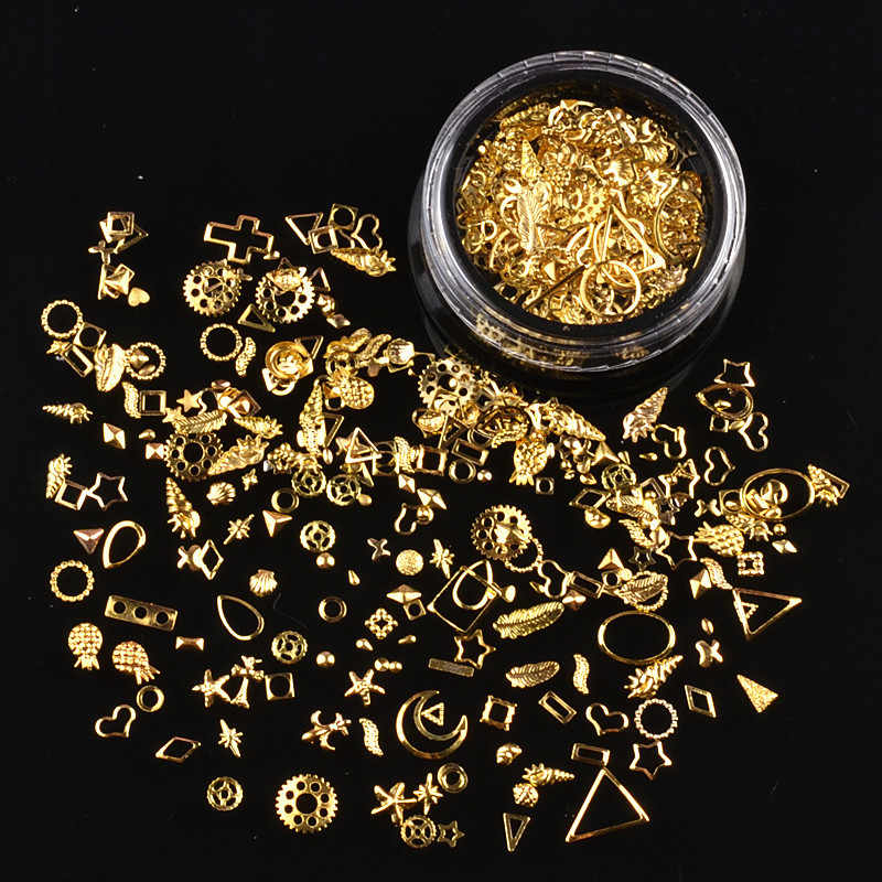 1 Box Gold Silver Nail Art Metal 3D Mix Frame Jewelry Filling UV Resin Epoxy Mold Making Filling For DIY Jewelry