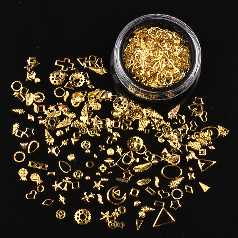 1 Box Gold Silver Nail Art Metal 3D Mix Frame Jewelry Filling UV Resin Epoxy Mold Making title=