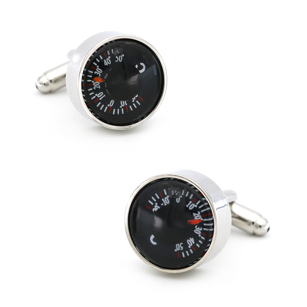 Tool Design Thermometer Cufflinks Quality Brass Material Black Color Cuff Links Wholesale&retail