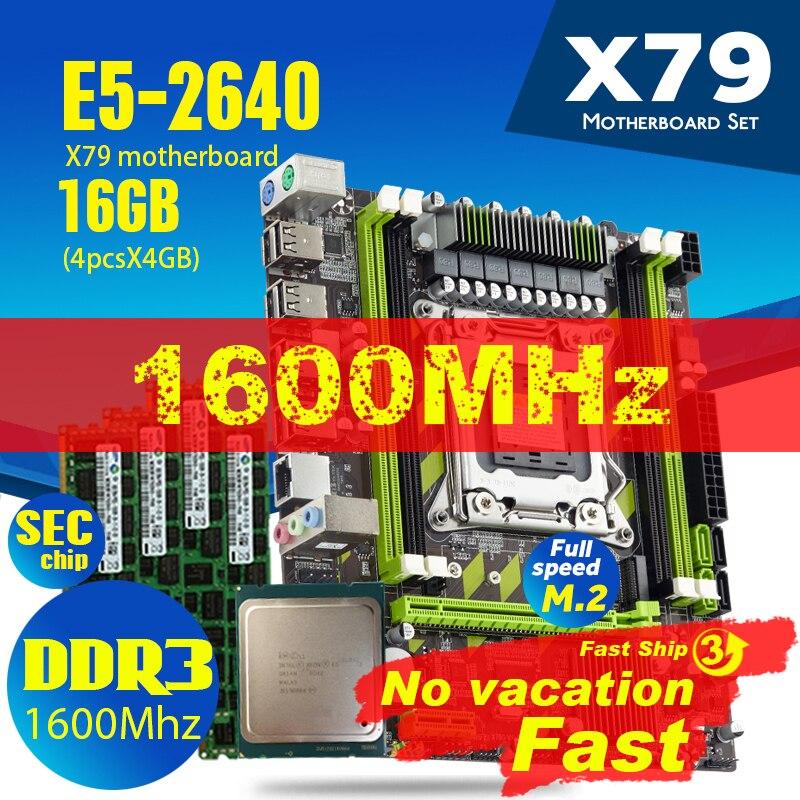 Ксеон E5 2640 Процессор E5-2640 X79-G X79 набор материнских плат с LGA2011 комбо 4 шт. * 4 Гб = 16 Гб памяти DDR3 Оперативная память PC3 12800R 1600 МГц