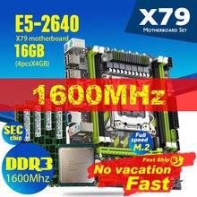 Xeon e5 2640 cpu E5-2640 X79-G x79 conjunto de placa-mãe com combos lga2011 4 pces * 4gb = 16gb memória ram ddr3 pc3 12800r 1600mhz