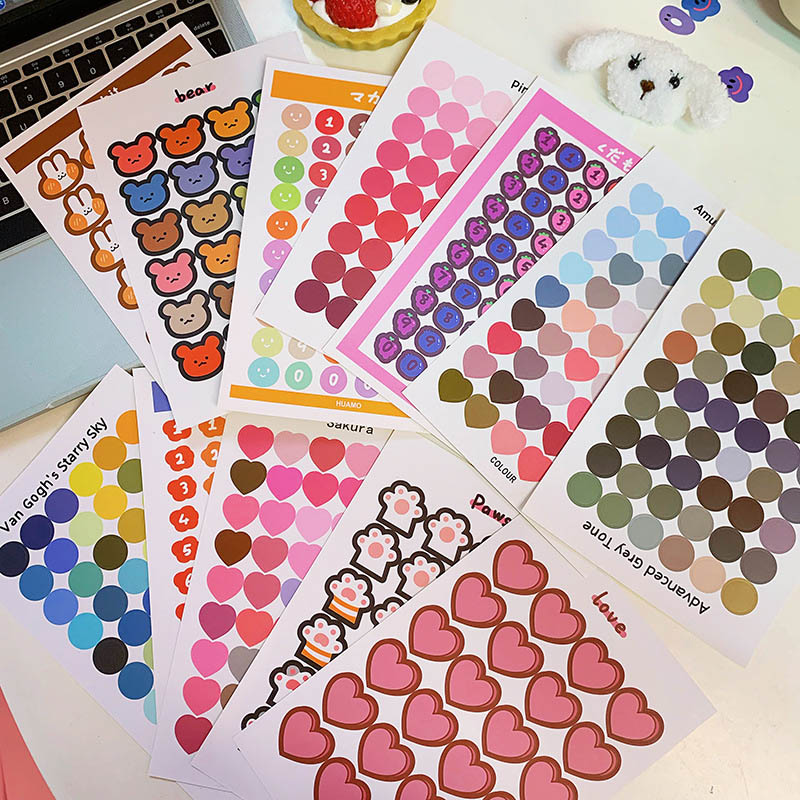 1 Sheet Cute Number Sticker Kawaii Heart Shape Decorative Stickers Dots Stationery Strickers For DIY Diary Scrapbooking Supplies