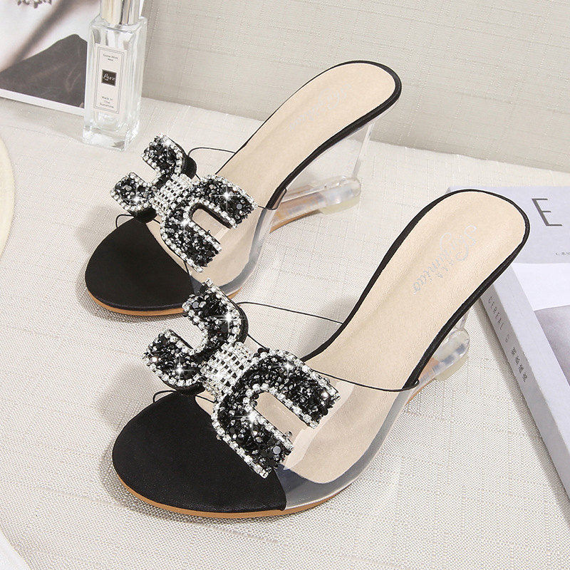YEELOCA New High Heels Crystal Sandals Women Summer Peep Toe Slippers Female Rhinestone Transparent Heel Wedges Sandals Pumps