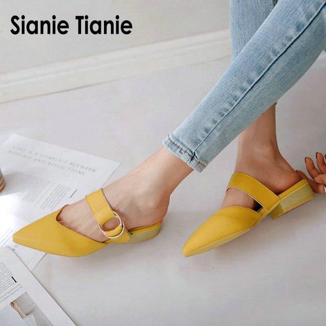 Sianie Tianie 2020 sommer quadrat niedrigen absätzen spitz gelb schnalle frau im freien hausschuhe damen schuhe frauen maultiere größe 46 48
