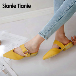 Image 1 - Sianie Tianie 2020 summer square low heels pointed toe yellow buckle woman outdoor slippers ladies shoes women mules size 46 48