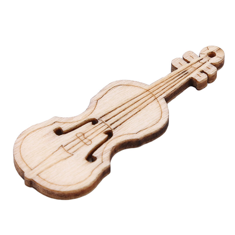 10 Pcs Vintage Style Unfinished Violin Sheap Wood Cutout Chips For Board Game Pieces Arts Crafts Projects Ornaments